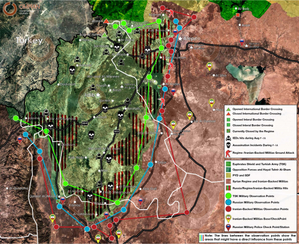 Area of influence Map of Idlib and its surroundings